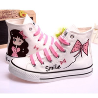 New 2017 spring harajuku design style canvas shoes female hand painted casual shoes high women shoes