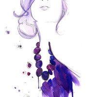 Watercolor Fashion Illustration - Floating Beads print