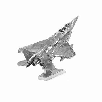 Finger Rock Educational 3D Puzzles Metal Model Military F15 fighter Airplane Apache Helicopter Jigsaw DIY Toy Gift