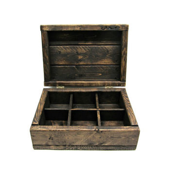 Rustic Tea Box - Handmade Wooden Storage Box with Six Compartments - Country Cottage Chic Jewelry or Small Craft Supply Chest - Teabag Box