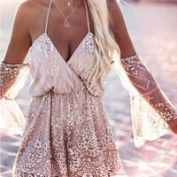 Womens Trendy Lace Beach Summer Romper