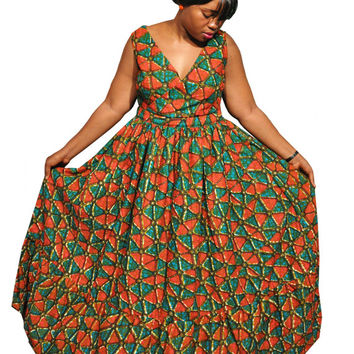 African Print Maxi dress - Plus size maxi from KwanzaInspirationE
