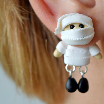 Mummy Earrings,Halloween dangling earrings,Holiday Character post,funny Fall front back stud,double sided earstud,unique Monster Earrings