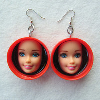 Red vintage Barbie face earrings - upcycled bottle caps