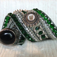 5 Row Emerald Green Silver Rhinestone Leather Wrap Bracelet Stacked Cuff: Fire Polished Czech Glass Crystal, Silver Plated Accent OOAK Gift