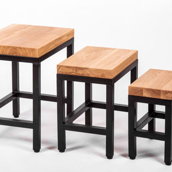 Oak Nest of tables , Side table set, End Table ,Oak Side table, Metal frames side table ,Wood and metal table .Solid wood , Industrial style