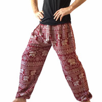 Men's Red Baggy Harem Pants - Elephant Print