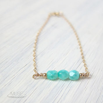 Aqua Mint Beaded Bracelet - 14k Gold Filled, Dainty Gold Bracelet, Small Bracelet, Minimal Bracelet, Simple Bracelet, Bridesmaid Gift