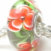 Beads Hunter Jewelry Bright Fuji Flowers with Green Leaves Murano Glass Bead Charm Fits European Bracelet