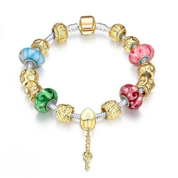 Gold Plated Field Murano Glass Crystal Beads charms Bracelet