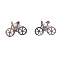 Silver Metal Retro Bicycle Post Earring