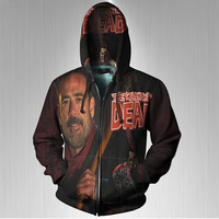 Negan Some thing to Fear The Walking Dead Fans print Sublimation Men Zipper Hoodies