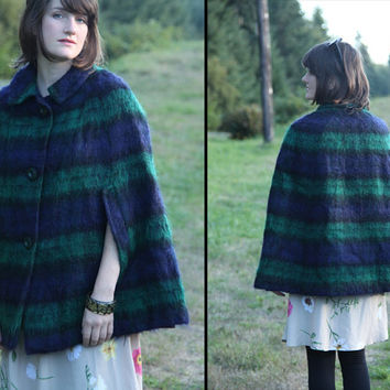 50s 60s MOHAIR Blackwatch CAPE Shaggy Wool Plaid