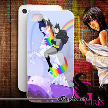 Batman riding Robot Unicorn for iPhone 4/4S, 5/5S, 5C and Samsung Galaxy S3, S4 - Rubber and Plastic Case