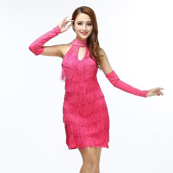 Sexy Woman Dance Performance Dress Vintage Halter Cold Shoulder Keyhole Hollow Out Lace Fringed Mini Party Dress With Diamonds