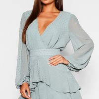 Ruffle Hem Dobby Chiffon Mini Dress | Boohoo