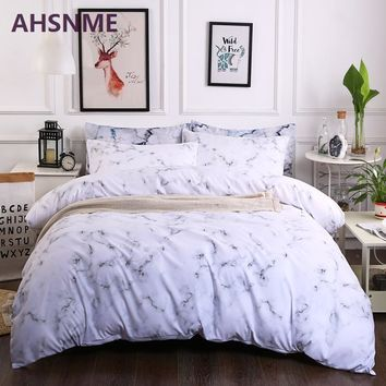 Cool AHSNME 2/3pcs Grey Marble Patterns Bedding Set American Size Suitable for King Queen Twin Very Soft Quilt Cover Home TextilesAT_93_12