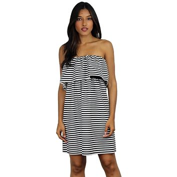 Be Boho Chic in Stripes Strapless Dress