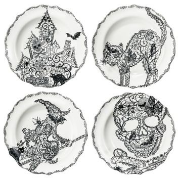 Halloween Wiccan Lace Assorted Appetizer Plates Set of 4 - Black and White