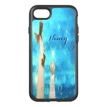 Angel and angel child with blue sky stars add name OtterBox symmetry iPhone 7 case