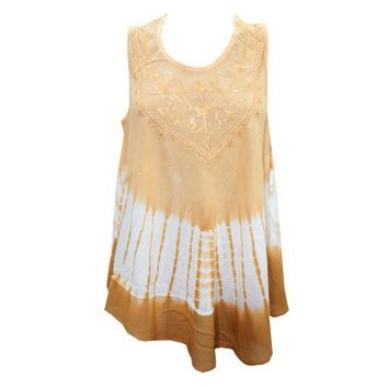 Mogul Women's Tank Top Tie Dye Floral Embroidered Sleeveless Blouse Dress - Walmart.com
