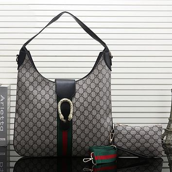 GUCCI Women Fashion Leather Handbag Tote Crossbody Shoulder Bag Satchel Set Two Piece