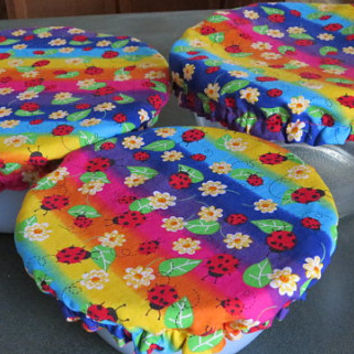 Reusable Bowl Covers, Elastic Bowl Lids, Eco Friendly Lids, Lady Bug Floral Bowl Covers