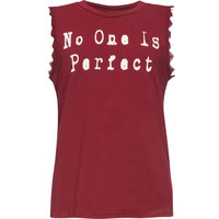 FULL TILT No One Is Perfect Crochet Trim Girls Tank | Graphic Tanks