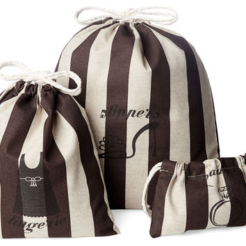 French Laundry Home, Travel Bags, Brown Stripe, Set of 3, Packing Sets
