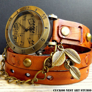 Leather bracelet, Women's leather watch, Leather Watch, Tan Wrap around Watch, Ladies watch, Musicians gift