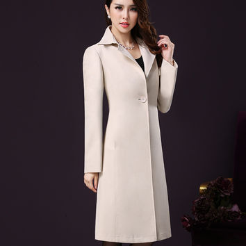 Plus Size Women Long Trench Coat Spring Autumn New Cotton European Classic Trench Coat Femme Black Red M-XXXL XXXXL