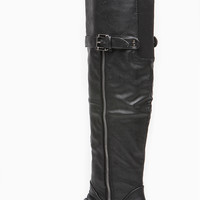 Black Faux LEather Rascal Rider Knee High Boot