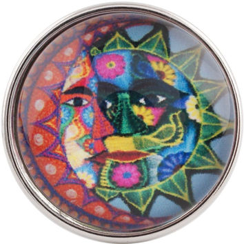 "Chunk Snap Charm Colorful Sun and Moon 20mm 3/4"" Diameter"