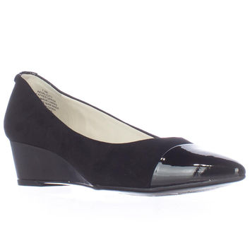 Anne Klein Valicity Toe Cap Wedge Pumps - Black/Black