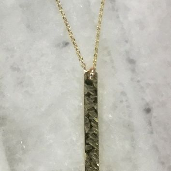 Gold Plated Vertical Hammered Bar Necklace