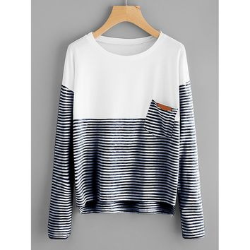 Navy and White Contrast Striped Dip Hem Tee