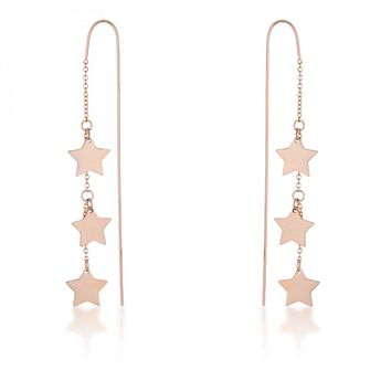 Reina Rose Gold Stainless Steel Delicate Star Threaded Drop Earrings