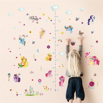 Cartoon Little Pony Height Measure Chart Wall Stickers For Kids Rooms butterfly flower stars cloud Wall Decal christmas Gift