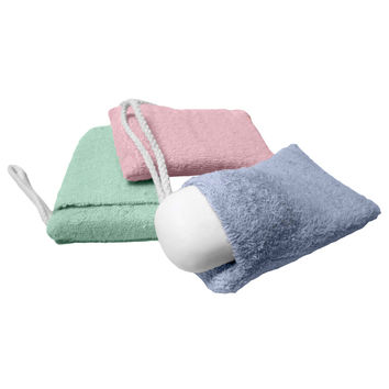 Evelots® Terry Cloth Soap Pouch Sponges, Bath & Shower Scrub, Bathroom, Set of 3