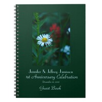 1st Anniversary Party Guest Book, White Daisy Notebook