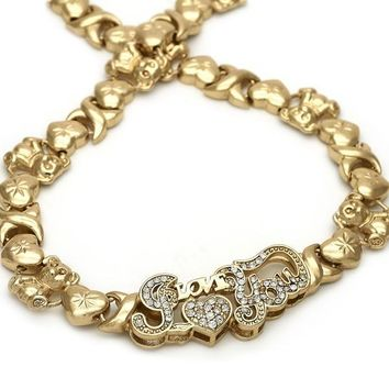 Gold Layered 06.185.0007 Fancy Necklace, Heart and Teddy Bear Design, Polished Finish, Golden Tone
