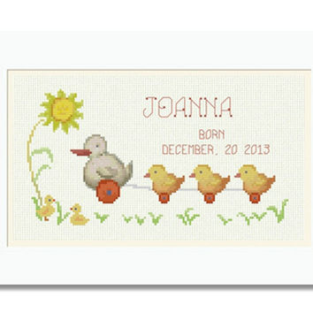 Baby Birth Record Joanna -  PDF Cross Stitch Pattern - INSTANT DOWNLOAD