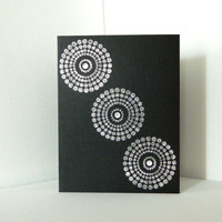 Black/Silver Graphic Circle Blank Card/s