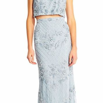 Adrianna Papell - AP1E201534 Beaded Halter Illusion Two Piece Gown