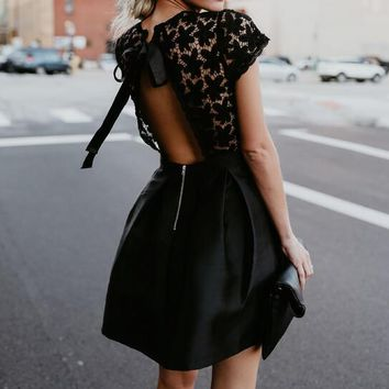 Black Patchwork Lace Hollow Out Short Sleeve Ball Gown Vintage Vestidos 2018 Summer Cocktail Party Dresses For Woman WS5208W
