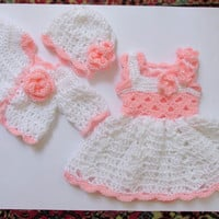 CIJ SALE Newborn take home outfit set first outfit take home baby dress sweater  hat white pink baby clothes