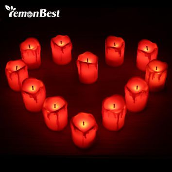12pcs Flameless LED Candle Light Tea Lights Smokeless for Christmas Hallowmas Xmas Wedding Candles Safety Home Bar Decoration