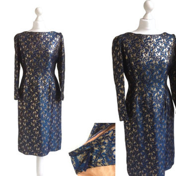 Vintage 1950's Blue And Gold Brocade Dress - 50's Dress - Zip Sleeves - Fitted Metallic Dress - Cocktail Party Dress