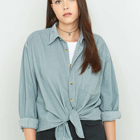 Urban Renewal Vintage Customised Overdyed Grey Pinwell Corduroy Shirt - Urban Outfitters