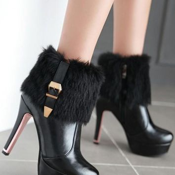 New Women Black Round Toe Stiletto Faux Fur Patchwork Casual Ankle Boots